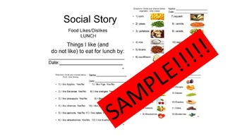 Lunch Interest Likes/Dislikes Inventory Social Story SPED/Autism/ODD/ID/CP