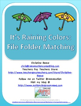 Autism / Special Education Color Matching Folder Game : It's Raining Colors