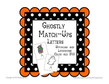 Autism Special Education Ghostly Match Ups Letters File Folder Center Activity