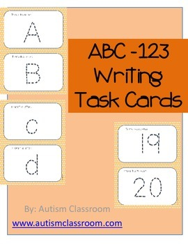Autism, Special Education, Kindergarten- ABC-123 Writing Task Cards