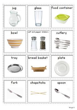 Kitchen Utensils Vocabulary Cards, Pecs for Autism