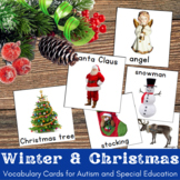 Christmas Vocabulary Cards with Real Life Pictures for Autism