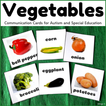Vegetables Cards for Autism, Vocabulary Cards
