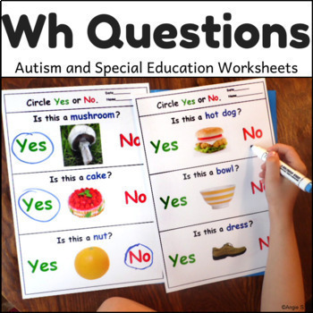 Autism Worksheets - Wh Questions for Special Education, Sp