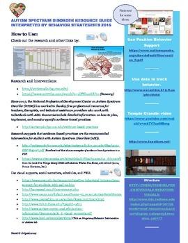 Autism Spectrum Disorder Resource Guide by Behavior Strategist
