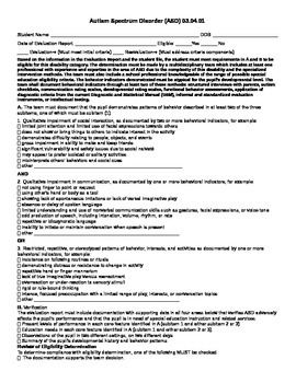 Autism Spectrum Disorders Eligibility Criteria Form