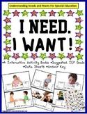 Autism Speech Language BUNDLE-WANTS/NEEDS Special Education and Autism Resources