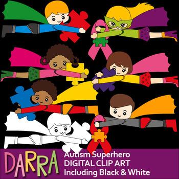 Autism Superhero Clip Art - Autism Awareness clipart