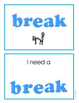 (Autism Support) I Need a Break Cards by: Autism Classroom (Special Education)