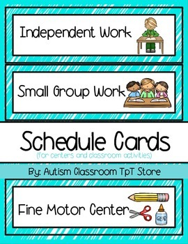 (Autism Support) Schedule Cards for Centers and Classroom Activities Aqua