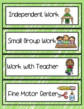 (Autism Support) Schedule Cards for Centers and Classroom Activities- Green