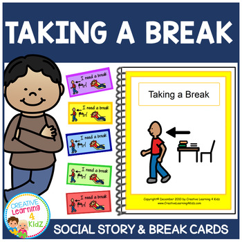 Social Story Taking a Break Book + Break Cards Behavior Autism