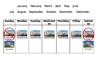 Autism - Teaching calendar and days of the week