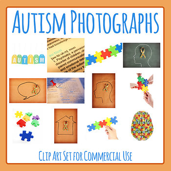 Autism Theme Photographic Clip Art Set for Commercial Use