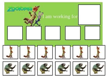 Autism Token Board Zootopia