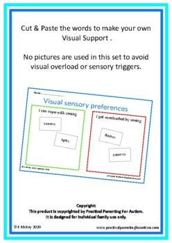 Autism Visual Preferences, Back To School, Cut & Paste Sorting Activity