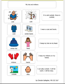 Autism Visual Support and more- Social story: I wear my hat and mittens