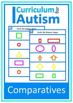 Comparatives Bigger Smaller, Autism Special Education, Write & Wipe