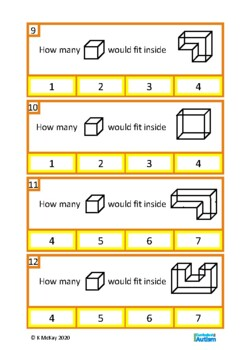 2D 3D Shapes Math Clip Cards, Autism Special Education, Visual Thinking Skills