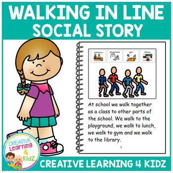 Social Story Walking in Line Book + PECS Autism