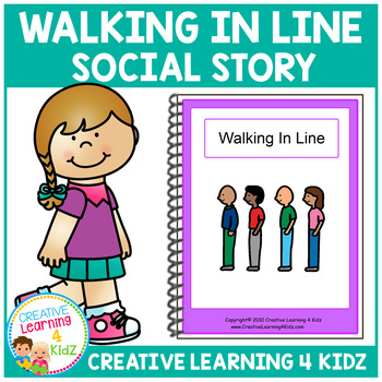 Social Story Walking in Line Book + PECS Autism