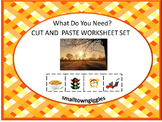Life Skills What Do You Need? Cut and Paste Worksheets Special Education