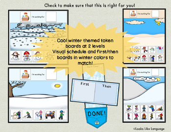 Winter Themed Token Boards and First Then Special Education Visuals