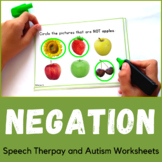 Negation Speech Therapy Workheets for Special Education