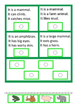 Reading Comprehension Cards Animal Theme Autism Special Education