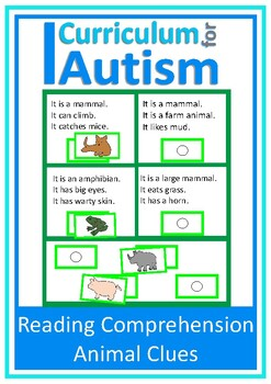 Reading Comprehension Animal Theme Autism Special Education
