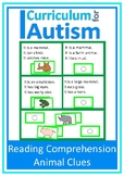Autism Read & Solve Comprehension Cards Animal Theme, Spec