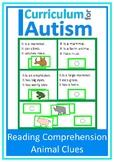 Reading Comprehension Animal Theme Autism Literacy Center ESL