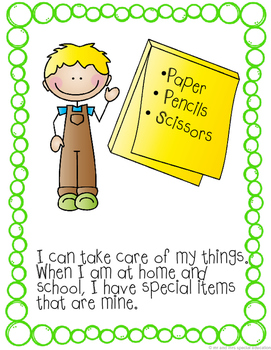 Autism and Special Education Social Story: I Take Care of My Things