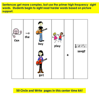 Autism and Special Education:  TWEEN Picture/Word Circle and Write