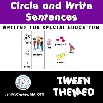 Autism and Special Education:  TWEEN Picture/Word Circle a