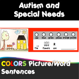 Autism and Special Needs:  COLOR UNIT - 100 picture/word sentence activities.