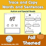 Autism and Special Needs: Fall themed TRACE AND COPY words