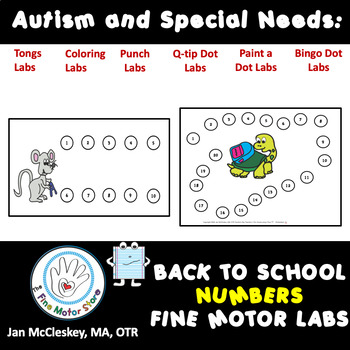 Autism and Special Needs:  Number Sequencing PUNCH DOTS - BACK TO SCHOOL