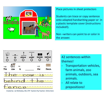 Autism and Special Needs:  Prepositions Matching and Writing Activities