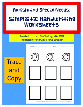 Autism and Special Needs: SIMPLE Handwriting Worksheets!