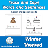 Autism and Special Needs:  Trace and Write Picture Words and Sentences - WINTER