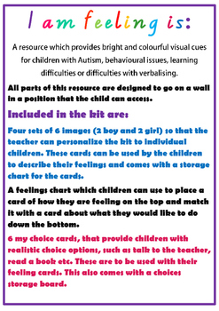Autism feelings wall chart