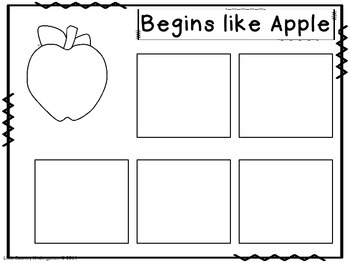 Autism or Kindergarten: Beginning Sounds Matching: Save My Ink: Color Cut Paste