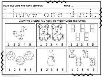 Autism or Kindergarten: Morning Work or Homework Month 2 of CCSS Math