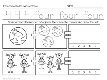 Autism or Kindergarten: Morning Work or Homework Month 8 of CCSS Math