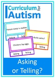 Asking Telling Reading Comprehension Autism Special Education