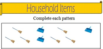 Autism teaching. Using household items, ordering numbers, patterns, addition