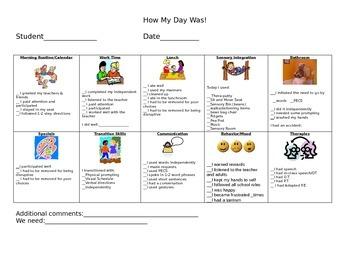 Autistic Support Home/School Communication Log