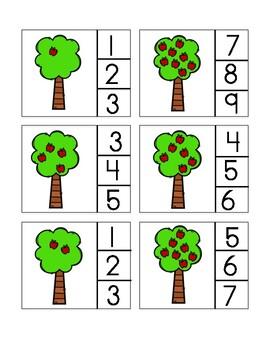 Autmun Clothespin Number Matching