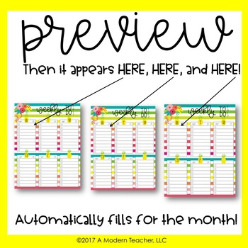 Auto Fill Weekly To Do Lists Dated Aug2017-Jul2018 Free Updates Pineapple Theme